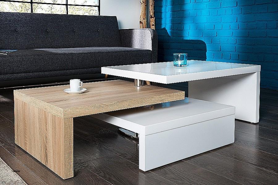 Table basse moderne blanc bois