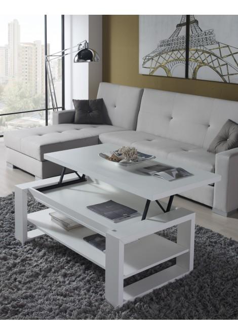 Table basse relevable blanc laquée