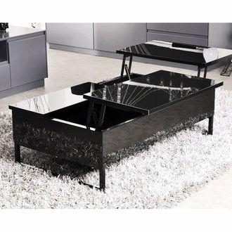 Table basse relevable laqué noir