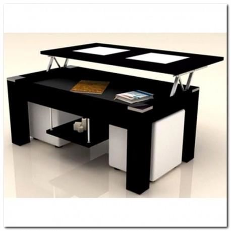Table basse relevable newport avec 2 poufs coloris blanc & noir