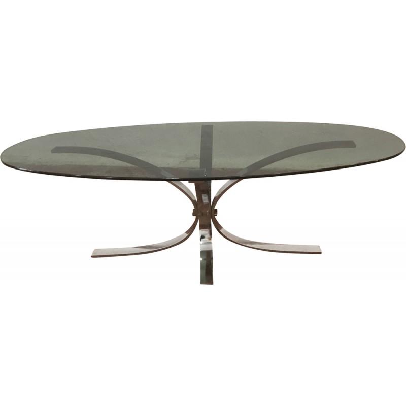 Table basse verre fumé vintage