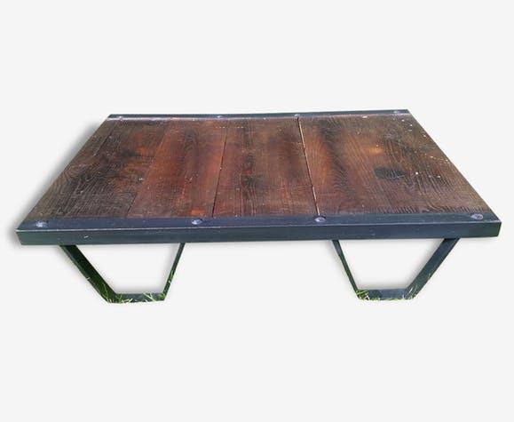 Table basse industrielle bois antique