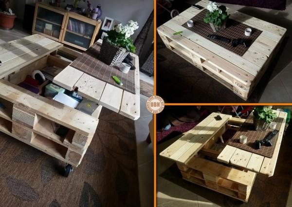 Table basse relevable en palette