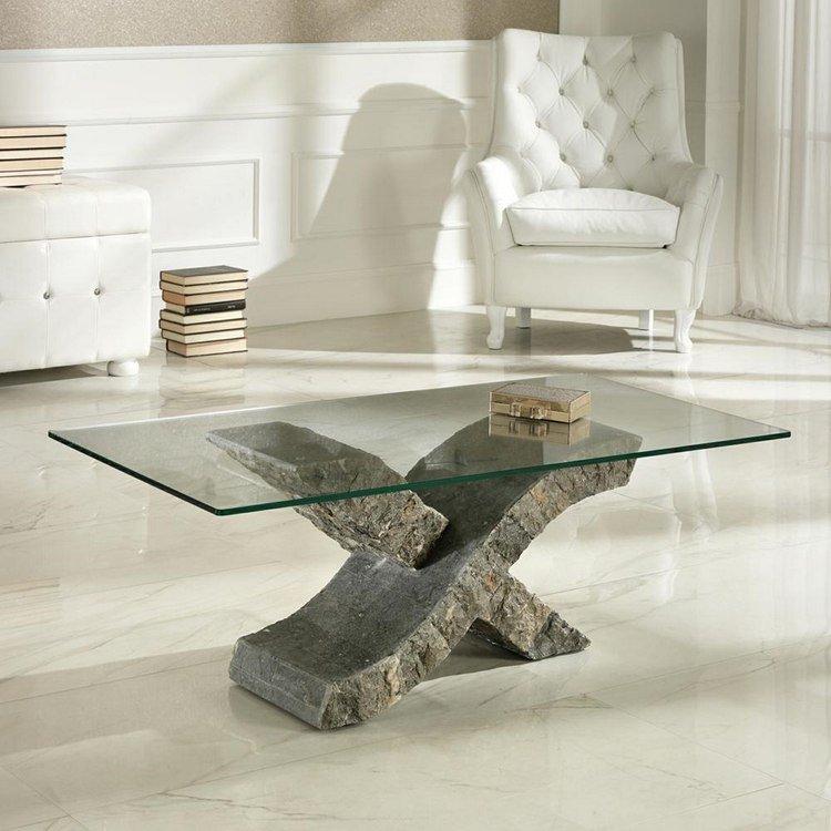 Table basse en verre avec pied en pierre