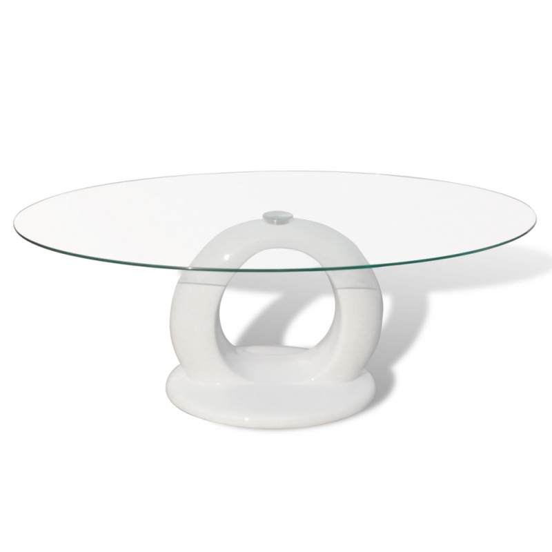 Table basse en verre pied blanc