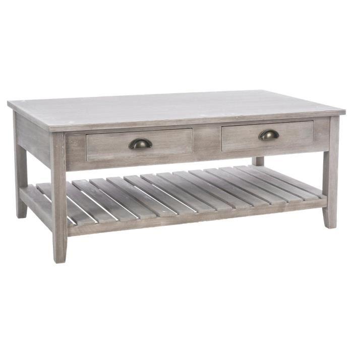 Table basse bois vieilli blanc