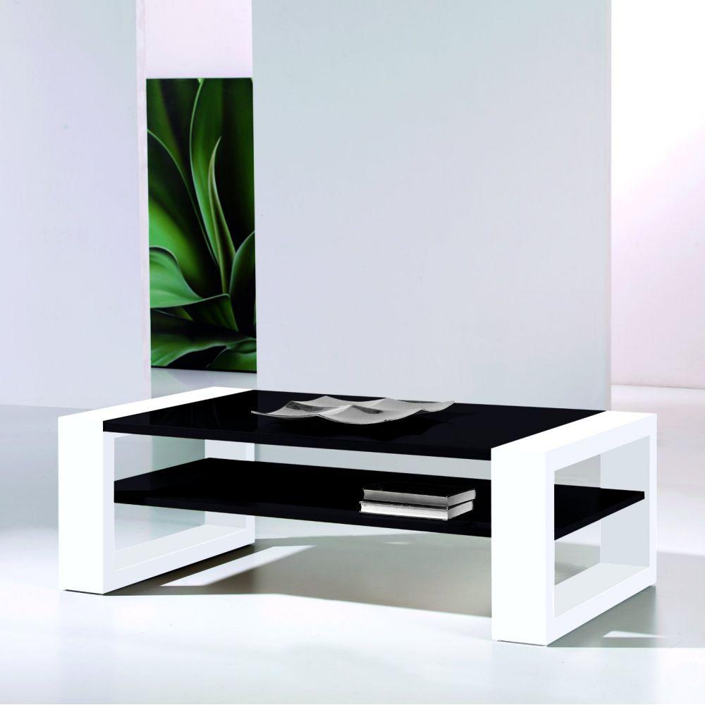 Table basse design noir et blanc pas cher