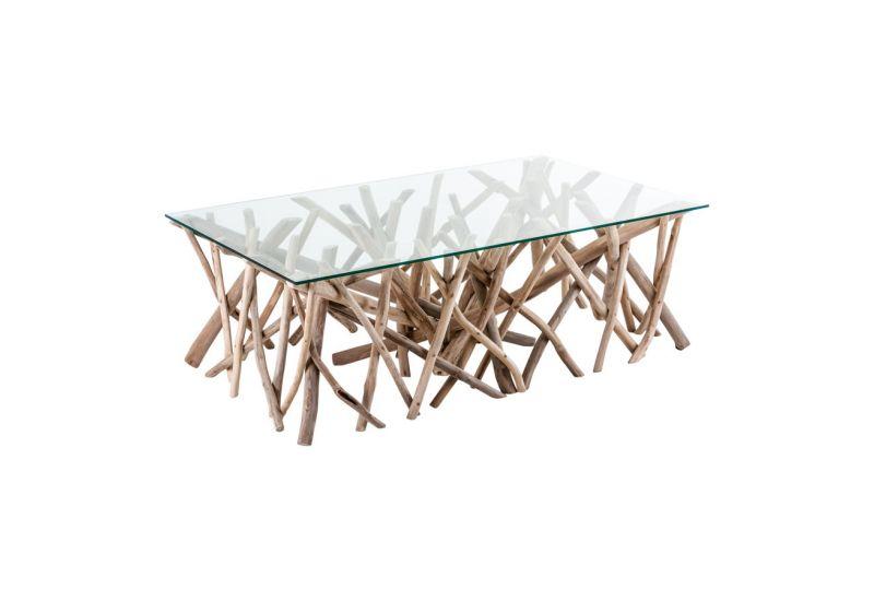 Table basse verre bois flotté