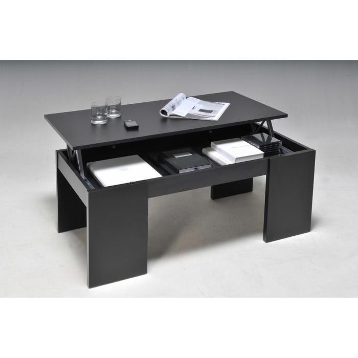Table basse relevable noir bois
