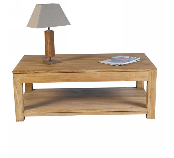 Table basse bois massif double plateau