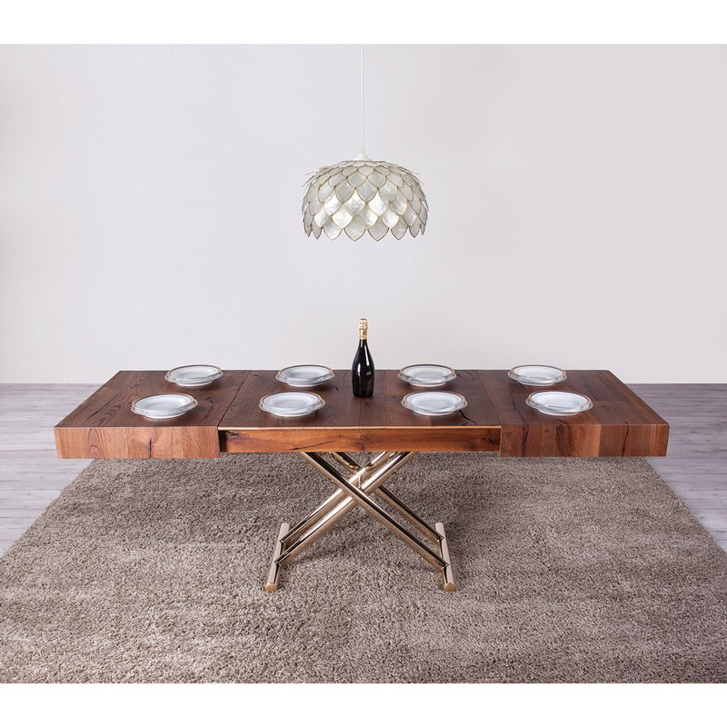 Table basse relevable bois et metal