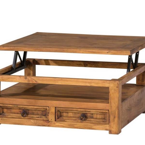 Table basse en bois relevable