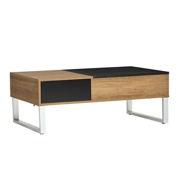 Table basse relevable bois et fer
