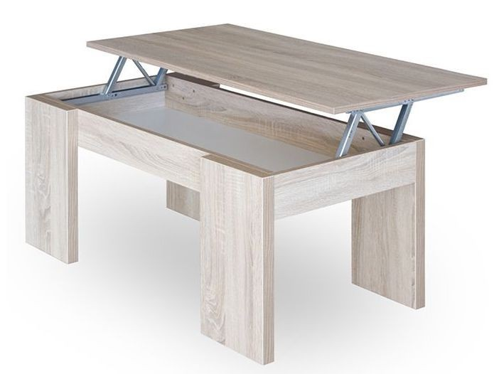 Table basse relevable couleur chene