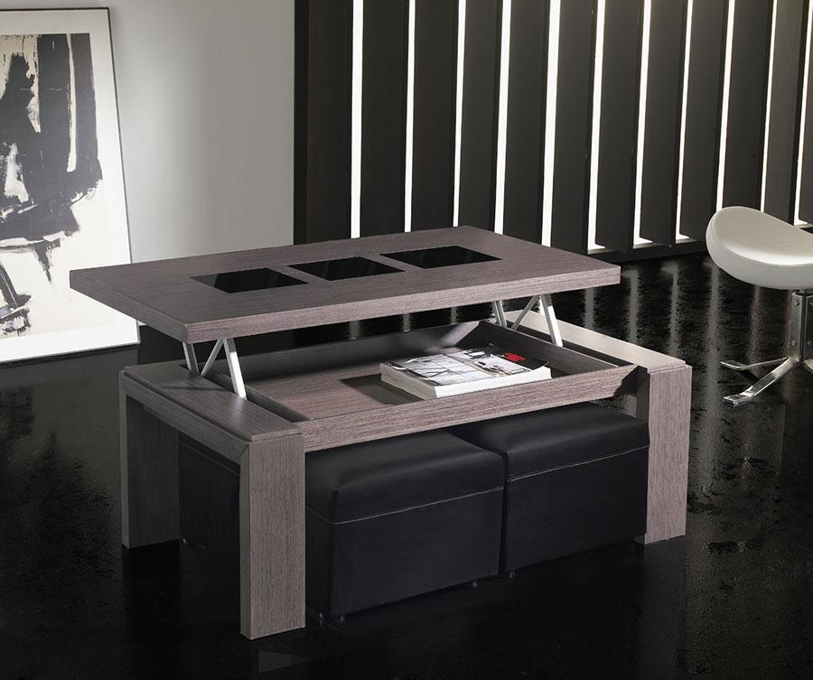 Table basse relevable avec poufs