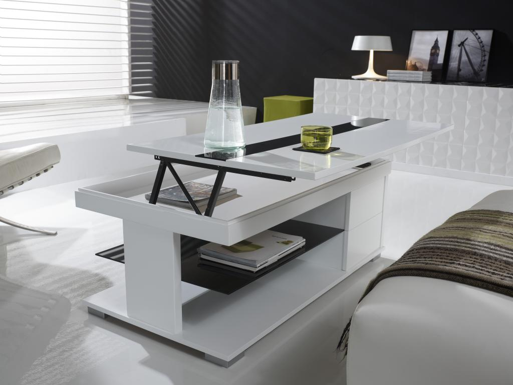 Table basse relevable blanc laqué but