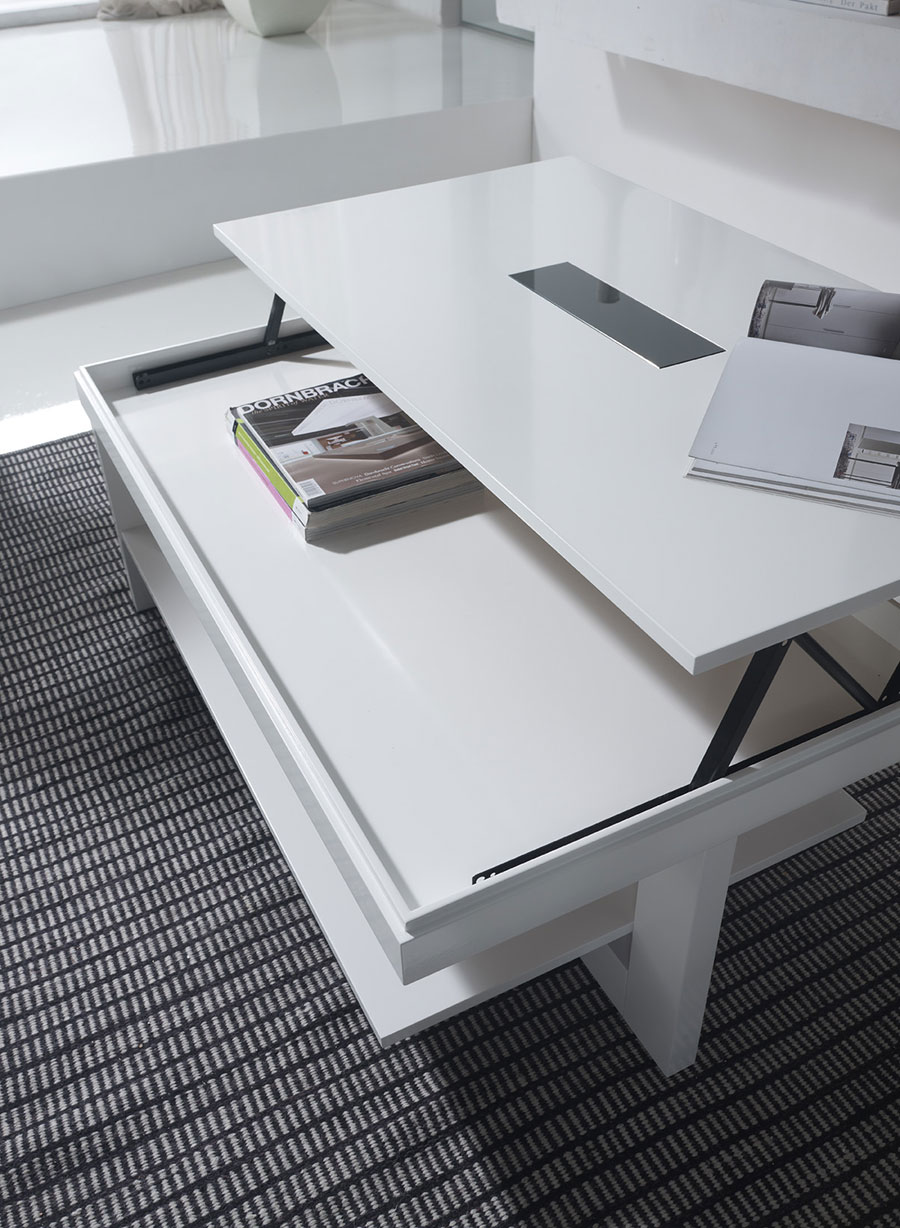 Table basse relevable ema laquee blanc