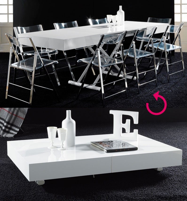 Table basse relevable ema blanc
