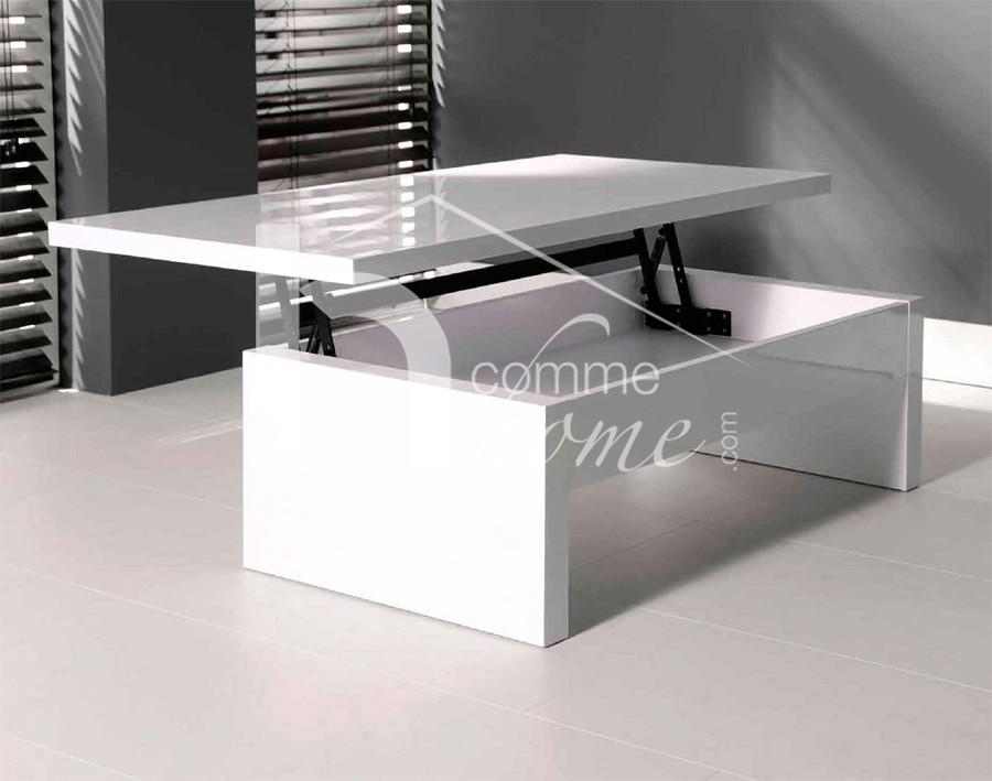 Table basse blanche laquée relevable