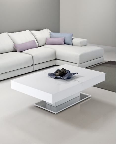 Table basse relevable extensible pied central