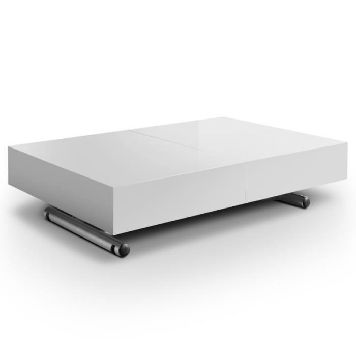 Table basse relevable et extensible blanche