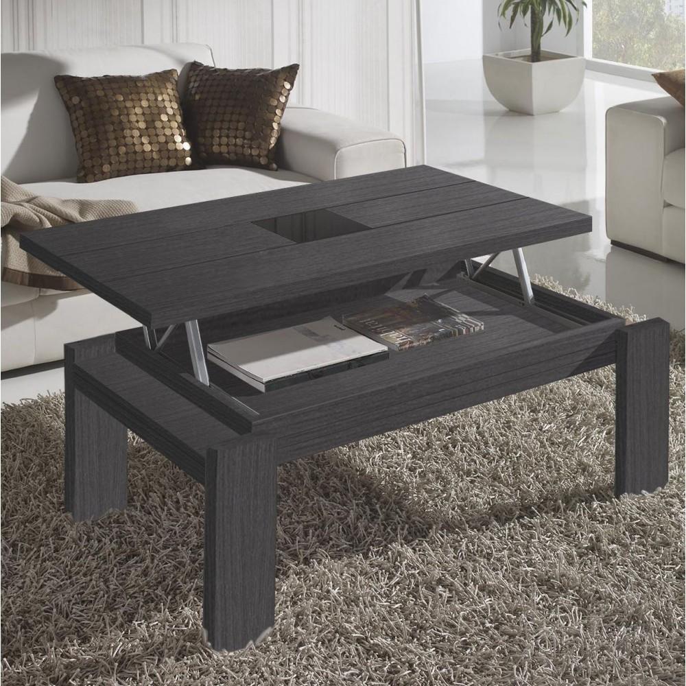 Table basse noire avec plateau relevable