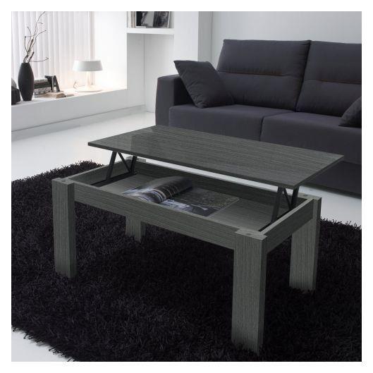 Table basse relevable bois gris