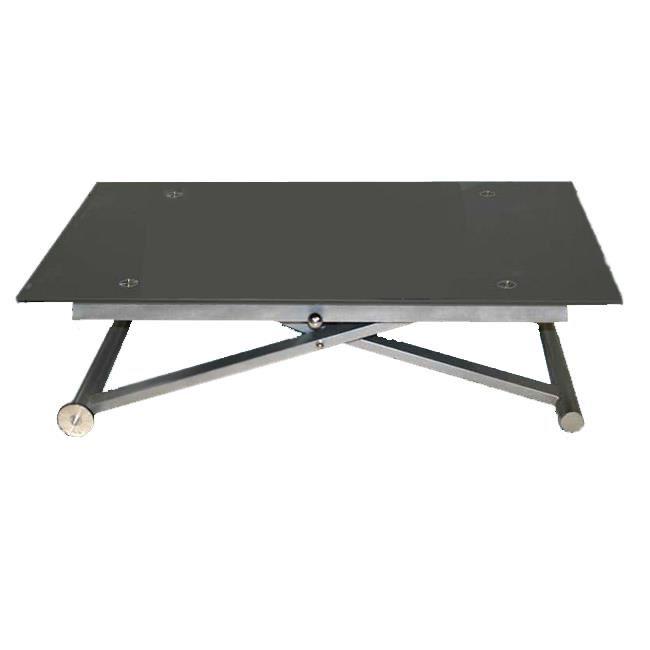 Table basse relevable zen - plateau en verre gris