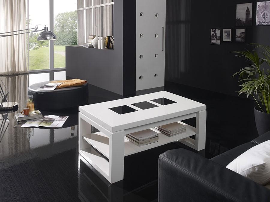 Table basse relevable blanc contemporaine mathias