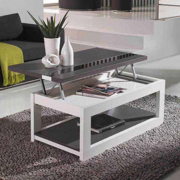 Table basse plateau en verre relevable