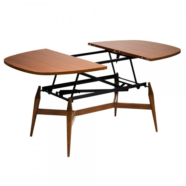 Table ronde basse scandinave extensible