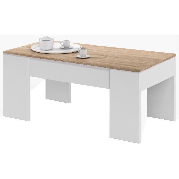 Swing table basse relevable style contemporain laminé chêne clair - l 100 x l 50 cm