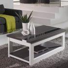 Table basse blanche et grise relevable