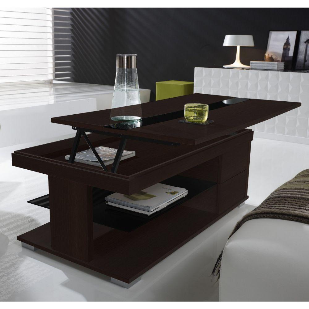 Table basse plateau relevable noir laqué