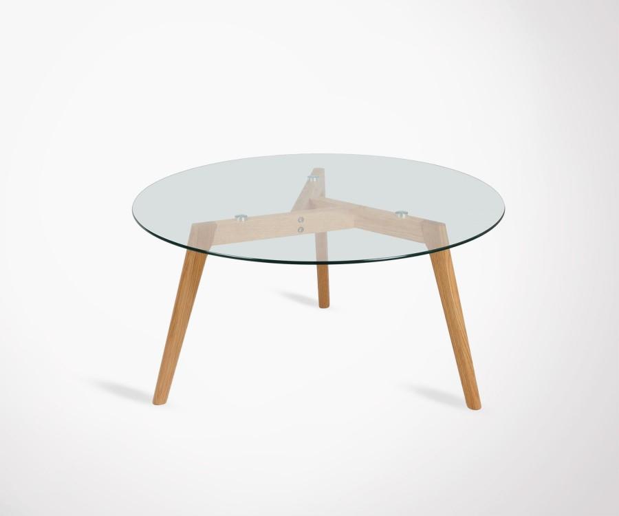 Table basse ronde en verre et bois