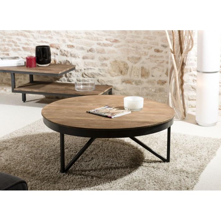 Table basse bois metal ronde