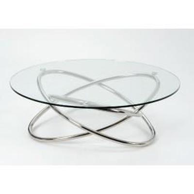 Table basse en verre pied chrome
