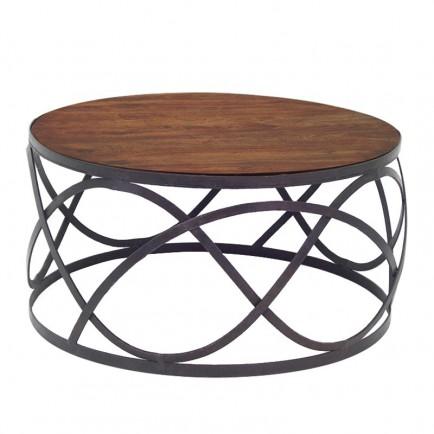Table basse bois massif fer forgé