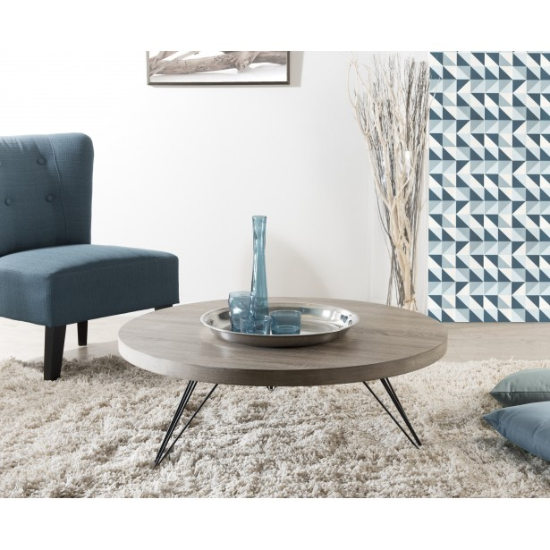 Table basse ronde bois 4 pieds
