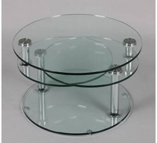 Table basse ronde avec plateau