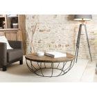 Table basse ronde noire bois