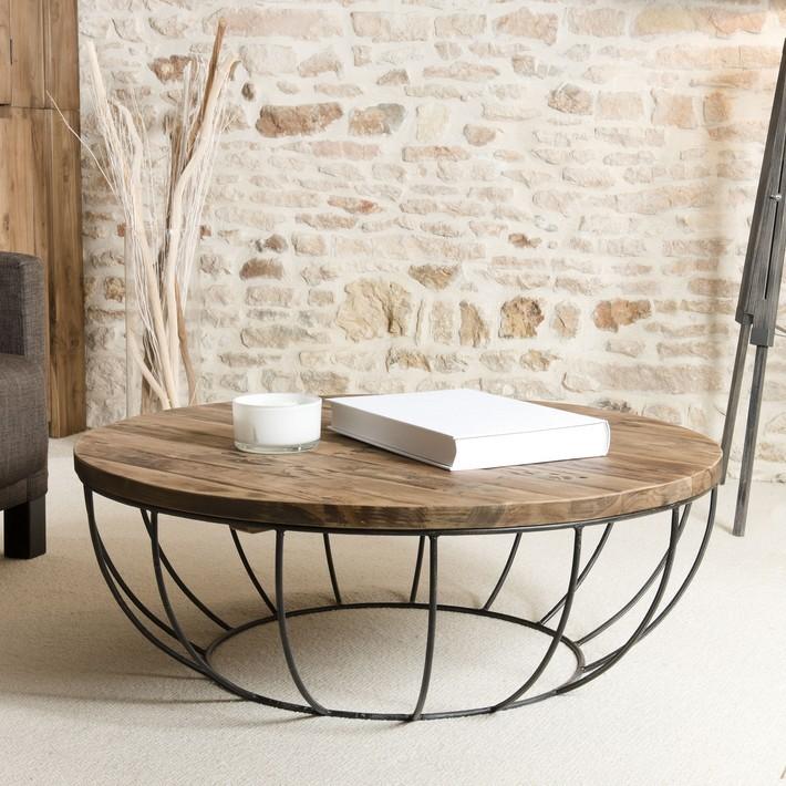 Table basse bois pieds métal ronde