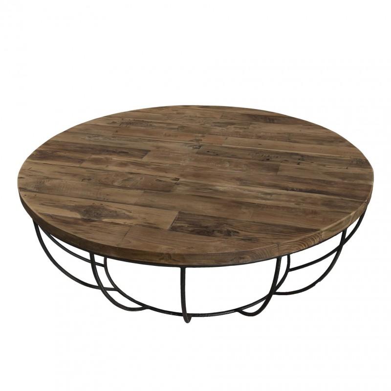 Table basse ronde bois pied noir
