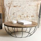 Table basse noire et bois ronde