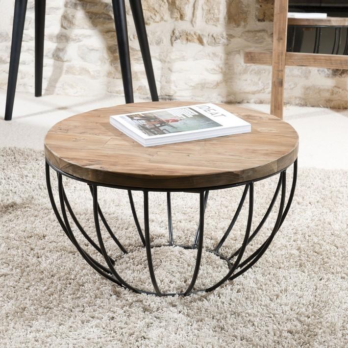 Table basse ronde bois chene