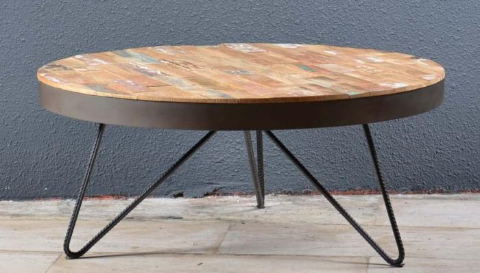 Table basse ronde salon bois