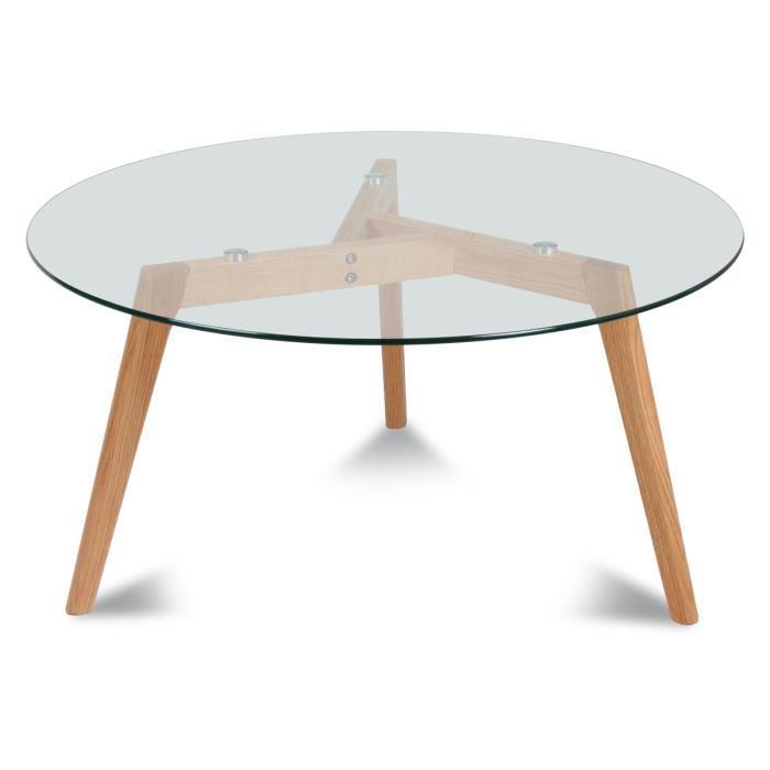 Table basse en verre et en bois