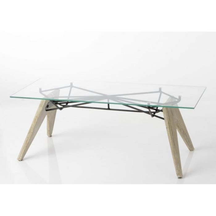 Table basse transparente scandinave