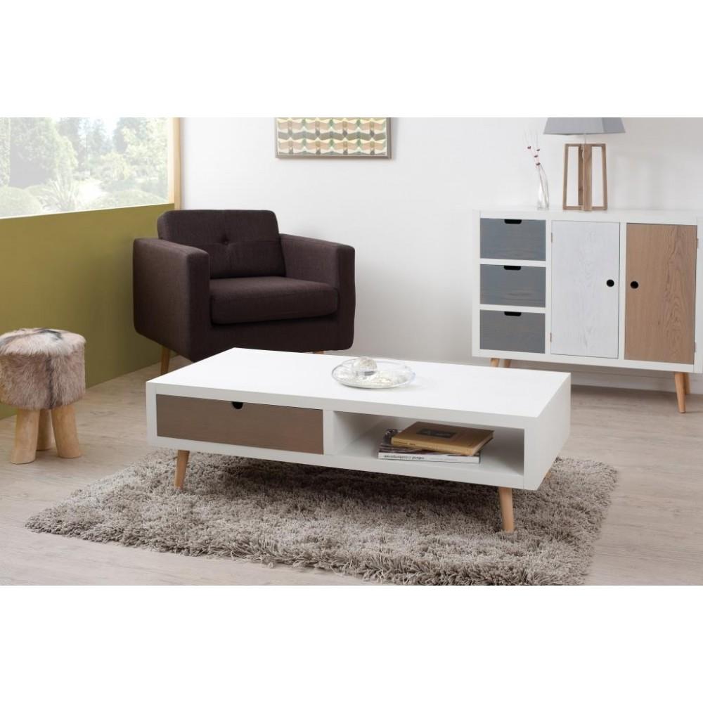 Table basse scandinave avec tiroirs