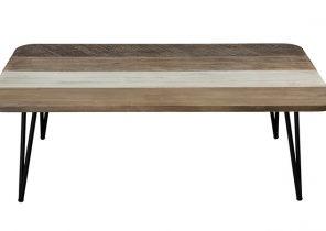 Table basse rectangulaire en métal et bois longueur 120cm swansea